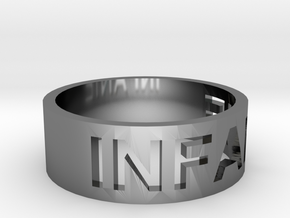 craved text ring in Fine Detail Polished Silver