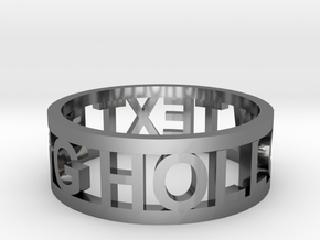 hollow text ring in Fine Detail Polished Silver