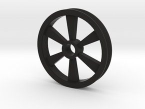 6 spoked Gear Pulley in Black Natural Versatile Plastic: 1:87 - HO
