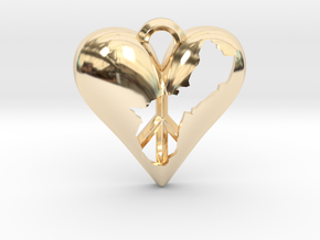Guam in Heart with Peace Symbol Necklace Pendant in 14K Yellow Gold