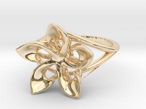 Flowering Plumeria Ring in 14K Yellow Gold