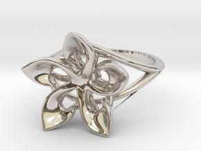 Flowering Plumeria Ring in Platinum