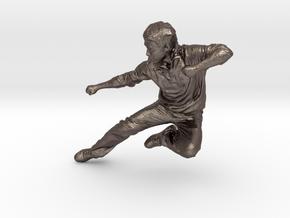 Scanned Fly Kick Man in Polished Bronzed Silver Steel