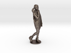 Scanned pretty Girl - 10CM High in Polished Bronzed Silver Steel