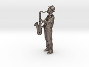 Scanned Saxophone player 6CM High in Polished Bronzed Silver Steel