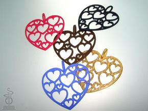 Heart of hearts pendant  in Polished Bronzed Silver Steel