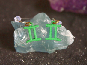 Zodiac Earring - Gemini in Green Strong & Flexible Polished