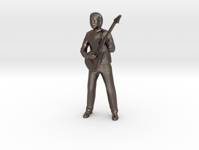 Guitar player 22CM High in Polished Bronzed Silver Steel