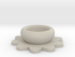 Flower Tealight Holder in Natural Sandstone