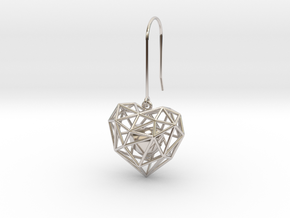 Metal Wireframe Heart Earring in Rhodium Plated Brass