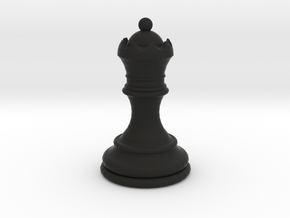Chess Queen in Black Natural Versatile Plastic