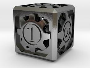 D6 - Clockwork in Polished Silver (Interlocking Parts)