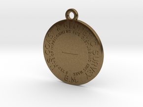 Benchmark Keychain - early flat type with center d in Natural Bronze