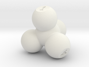 Molecular Four Sided Die in White Natural Versatile Plastic