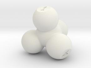 Molecular Four Sided Die in White Natural Versatile Plastic