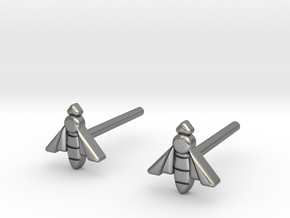 Bee Studs in Natural Silver