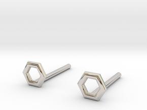 Hexagon studs in Rhodium Plated Brass