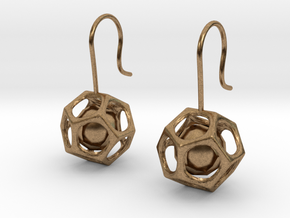 Dodecahedron earrings in Natural Brass (Interlocking Parts)