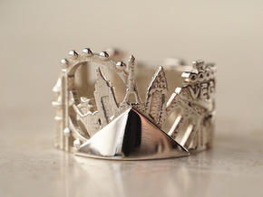 Las Vegas Cityscape - Skyline Ring in Polished Silver