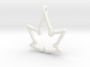 Leaf Curve Pendant in White Processed Versatile Plastic