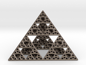 Sierpinski Pyramid  in Polished Bronzed Silver Steel