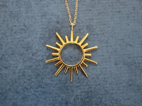 Sun Rays Pendant in 18k Gold Plated Brass