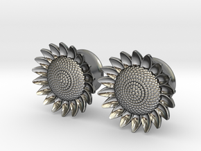 "Sunflower 5/8"" ear plugs 16mm in Polished Silver"