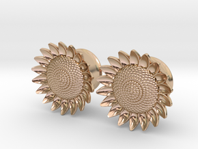 """Sunflower 5/8"""" ear plugs 16mm in 14k Rose Gold Plated Brass"""