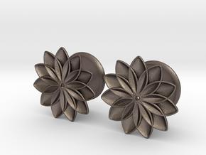 "5/8"" ear plugs 16mm - Flowers - 11 petals in Polished Bronzed Silver Steel"