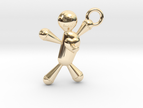 Voodoo Doll pendant in 14K Yellow Gold