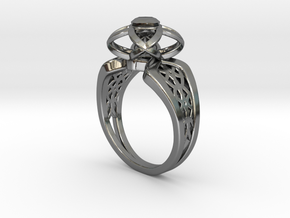 3-2 Enneper Curve Twin Ring (001) in Fine Detail Polished Silver
