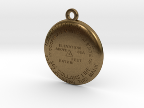 USGS State BM Keychain in Natural Bronze