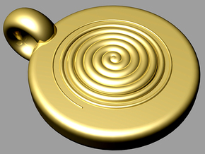 spiral pendant positive in Polished Brass