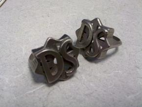 size 12 D.S. Drive Shaft ring from LOST  in Polished Bronzed Silver Steel