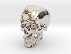 Human Skull Ring size 12 in Rhodium Plated Brass