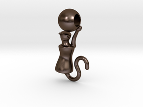 Playful Cat with Ball in Polished Bronze Steel