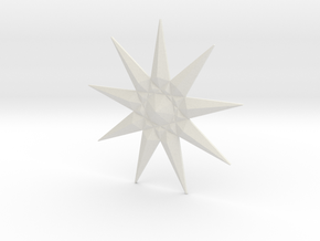 Nine-pointed Star Brooch in White Natural Versatile Plastic