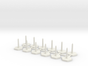 Omni Scale Stand Sprue of 12 Flight Stands WEM in White Natural Versatile Plastic