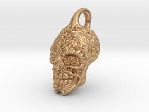 Mayan skull pendant in Natural Bronze
