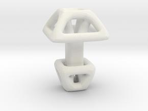 Square Cufflink in White Natural Versatile Plastic
