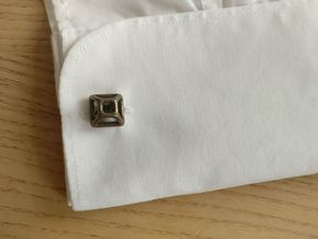 Square Cufflink in Polished Bronze Steel