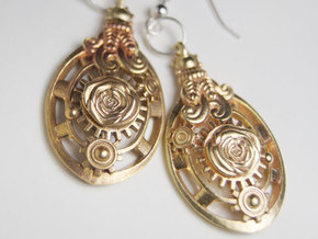Botanika Mechanicum Earrings in Natural Brass