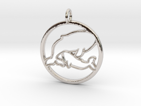 Nursing Baby Whale with Mama; pendant in Rhodium Plated Brass