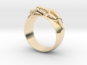 Ring Hugging Nude Couple in 14k Gold Plated Brass: 6 / 51.5