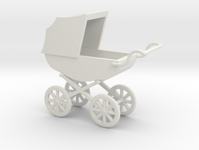 1:48 Stroller Pram in White Strong & Flexible