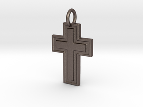 Harvey Relief Pendant in Polished Bronzed Silver Steel