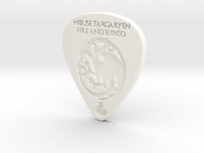 Game of Thrones House Targaryen Guitar Pick in White Strong & Flexible Polished