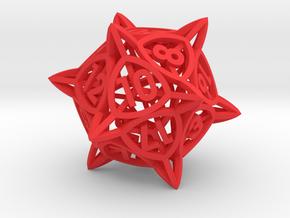 'Center Arc' dice, D20 balanced gaming die, LARGE in Red Processed Versatile Plastic