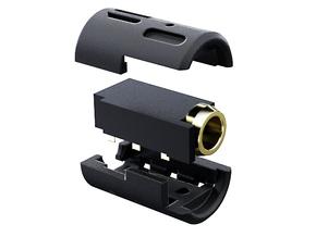 3.5mm 6-pole V2 Female Socket Holder SIMPLE in Black Strong & Flexible