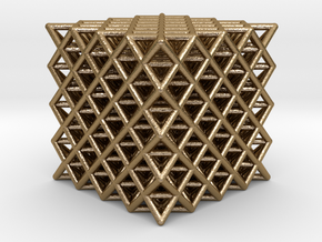 "512 Tetrahedron Grid 2.3"" in Polished Gold Steel"